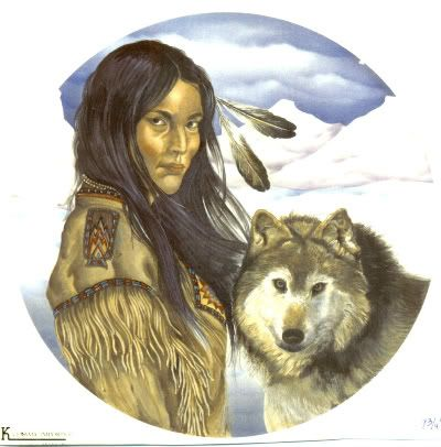 Native American Indian Woman Wolf 7 3/4 Ceramic Decal
