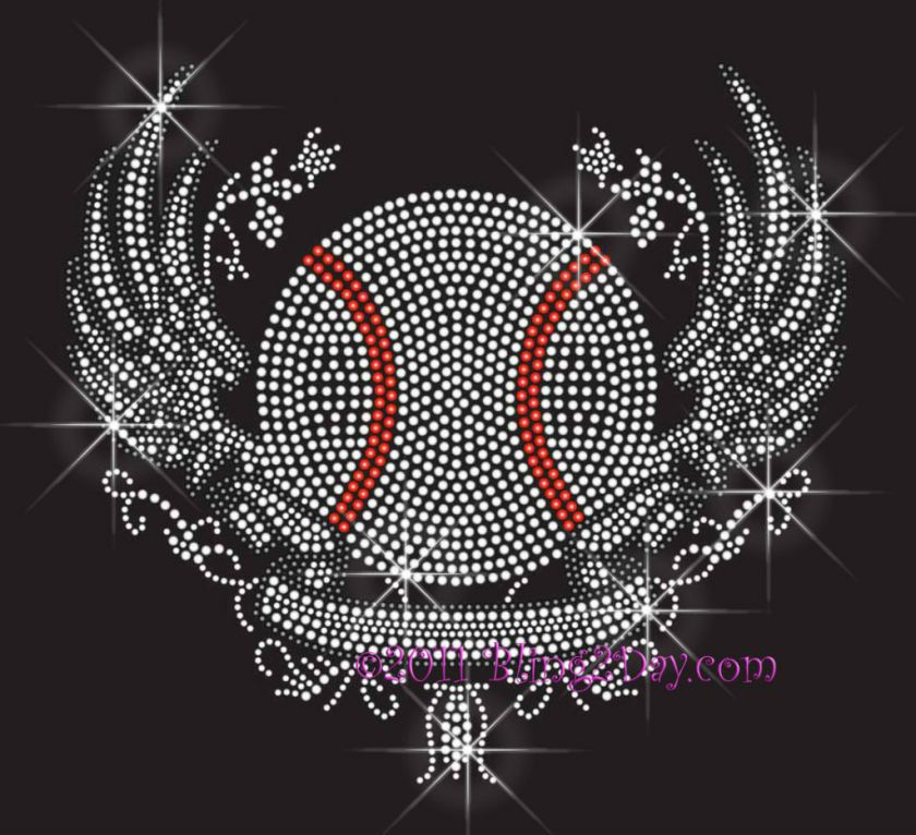 Baseball Angel Wings Banner Rhinestone Iron on Transfer Hot Fix Bling