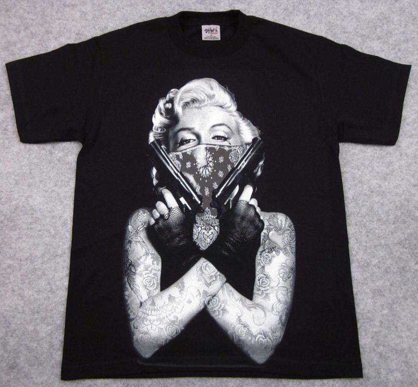 MARILYN MONROE T shirt Tattoo Bandit Tee Guns Adult Big&Tall XL,2XL