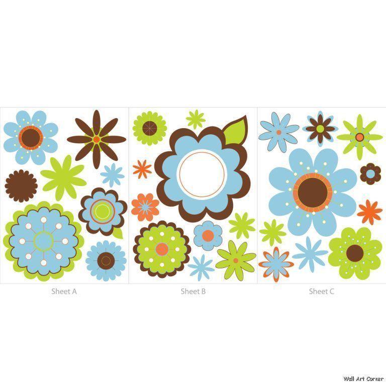 Graphic Flowers Nursery Wall Sticker Decals boys/girls