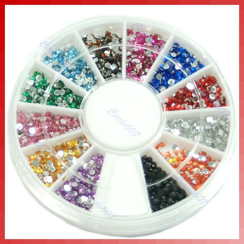 12 Colors Glitter Rhinestone Decoration Nail Art + Disk