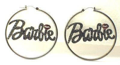 New Hematite Stone Barbie Nicki Minaj Hoop Earrings