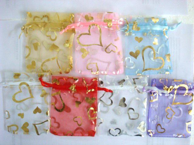 love Heart Organza Wedding Favor gift Bags 5 color 4x6
