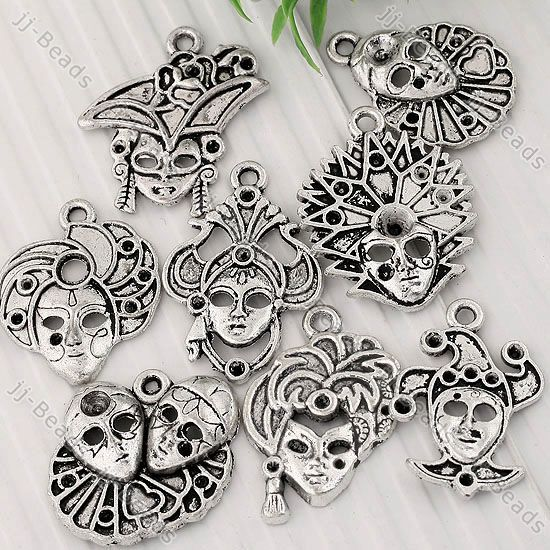 Mixed Tibetan Silver Clown Mask Face Charm Pendant Finding Jewelry