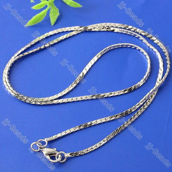 5pc White Gold Plated Flat Snake Chain Necklace 2*1mm