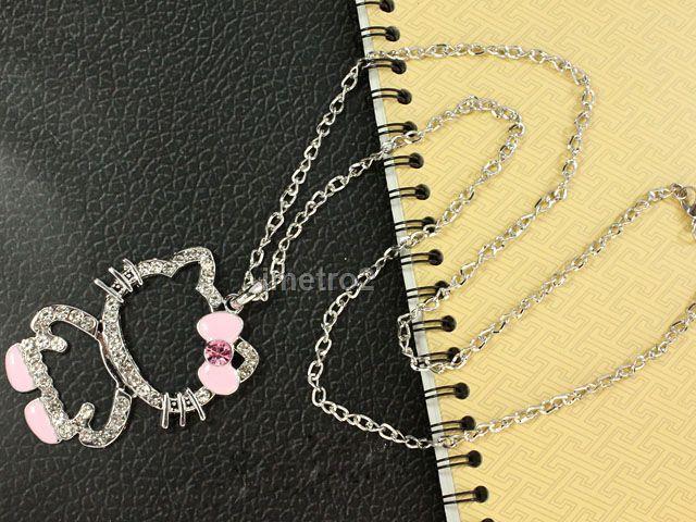2x pink white hello kitty Friends Friendship chain necklace swarovski