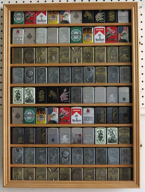 90 Military Zippo Lighter Display Case Holder Cabinet, w/door LC06 OAK